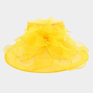 Ruffle Organza Hat W/ Floral Center
